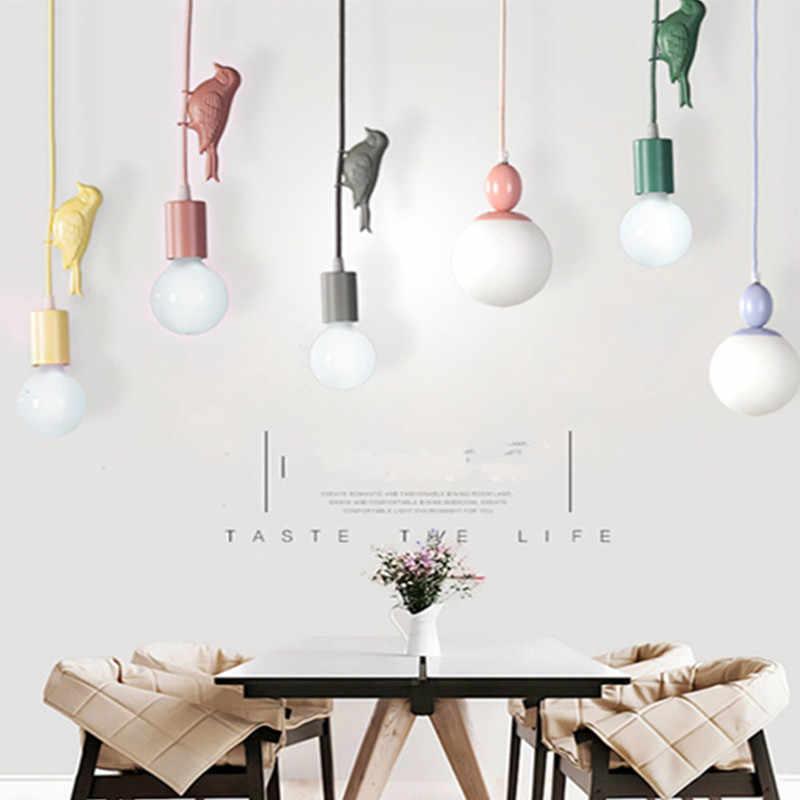 Многоцветный светодиодный подвесной светильник для детской комнаты, подвесной светильник для спальни с птицами, детская комната, столовая, бар, кофейня, оконное освещение