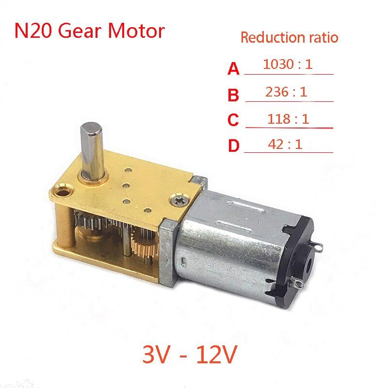 Nimoa N20 DC3V 6V 12V 50-2000RPM R/éducteur de Vitesse Moteur /à Courant Continu Avec Bo/îte de Vitesses en M/étal