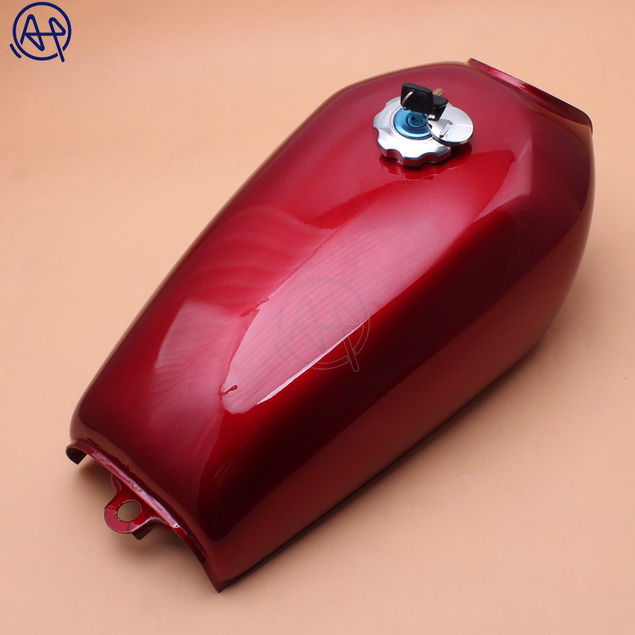Motorcycle 9L Red Cafe Racer Gas Capacity Tank Universal Fuel Tank with Thick Iron Cap Switch for Honda CG125 CG125S CG250