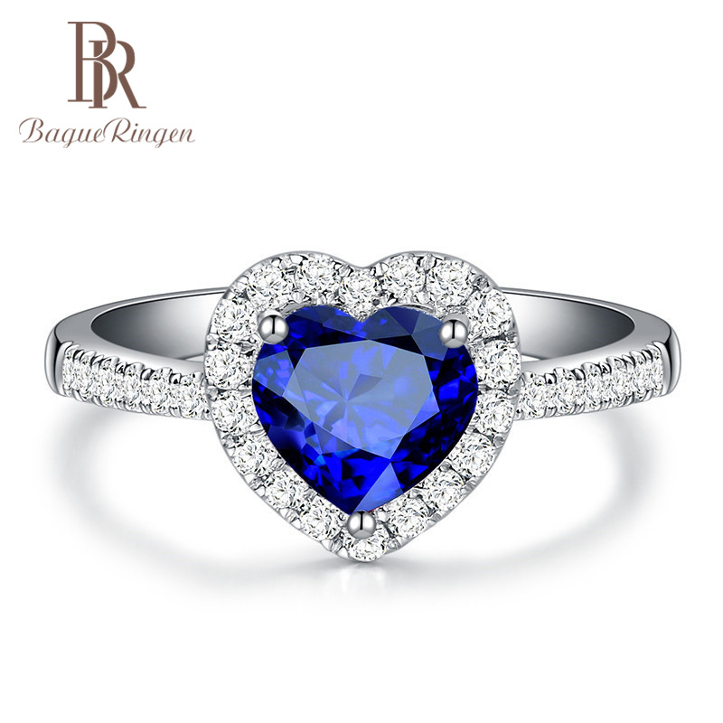 Bague Ringen High Quality Luxury Heart Sapphire Ring With Created Aquamarine Stone Wedding  Event Party Female Ring