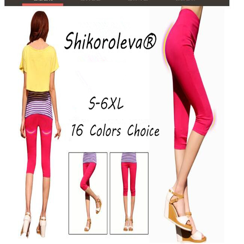 Shikoroleva Women 3/4 Capri Legging 2020 Candy Solid Color High Waist Cropped Trousers Jeggings Plus 6XL 5XL S Brown Pink Red