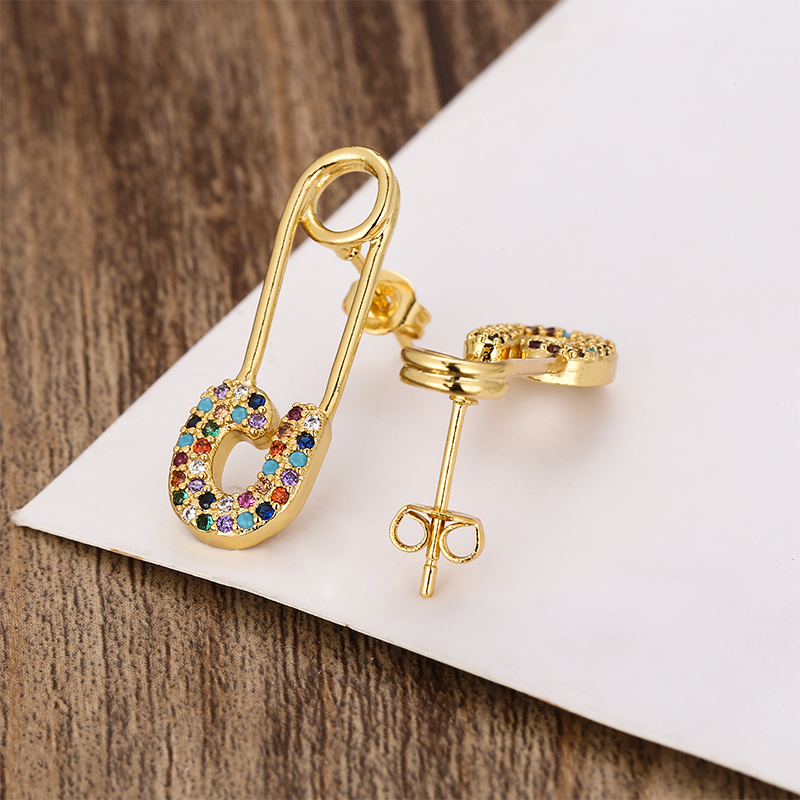 Fashion Women's Gold Rainbow Drop Earrings Copper Small Earrings Fish Smile Key Crown Snake Colorful Earring  Zircons For Women