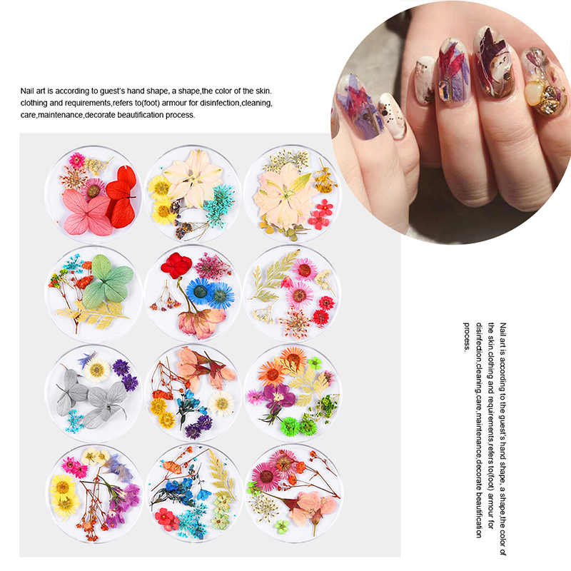 RBAN NAIL 3D Nail Art Dried Flower Mixed Preserved Nail Decal Leaf  Natural Sticker DIY Manicure Nail Art Decorations Tool