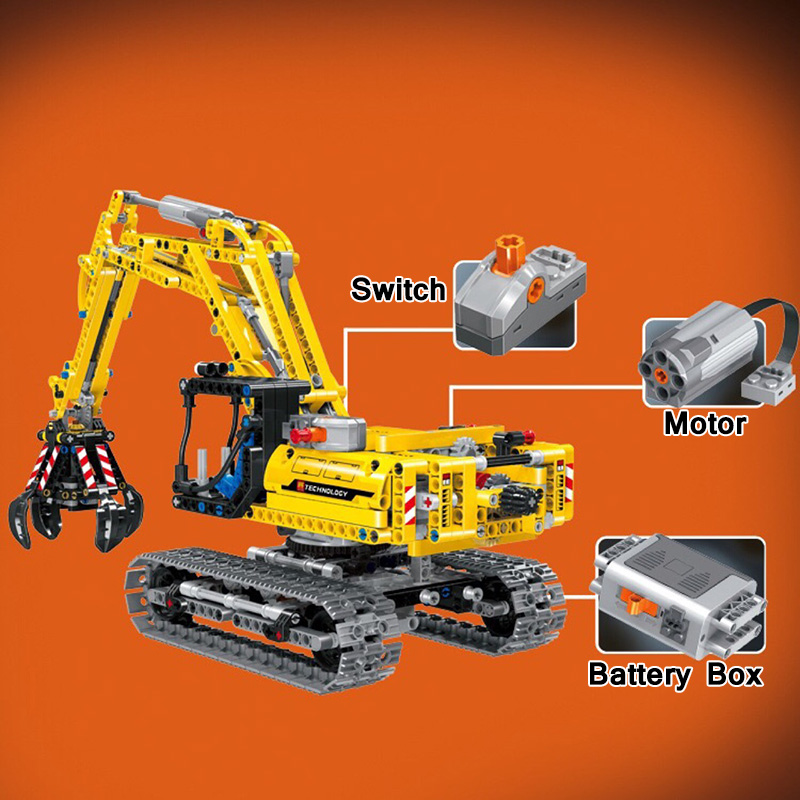 Compatible With <font><b>legoinglys</b></font> Technic Excavator Car <font><b>42006</b></font> Truck Model Building Blocks Boys Birthday Gifts Toys For Children image