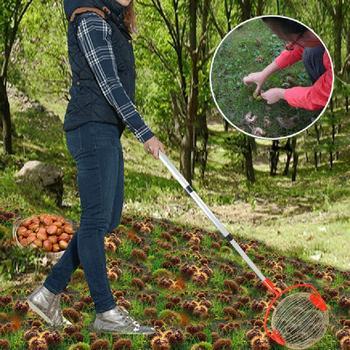 Cosechadora de nueces y castañas, rodillo retráctil para recoger tuercas, Bola de aleación de aluminio, recolector de frutas de jardín, herramienta para Orchards familiares
