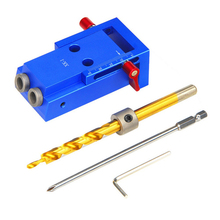 DIY Woodworking Inclined Hole Device Woodworking Pocket Hole Jig Kit 9.5mm Step Drill Bit Manual Locator Wood Drilling Guide Kit