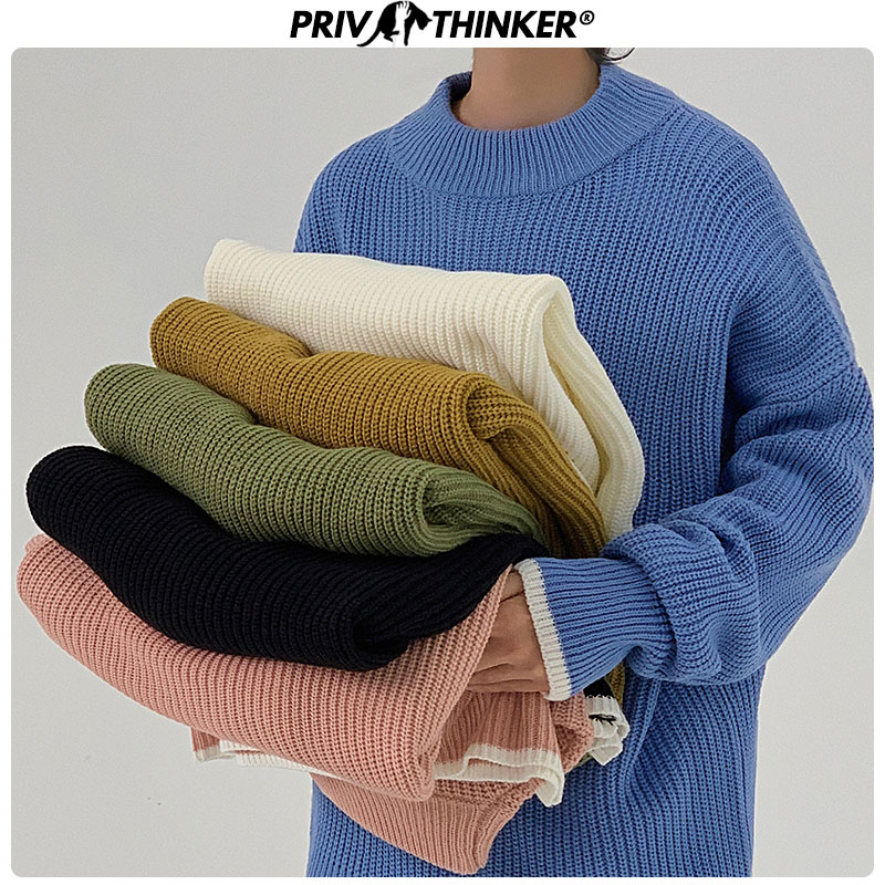 Privathinker Men O-Neck Solid Harajuku Sweaters Autumn Men's Casual Pullovers Knitted Tops Male Oversize Colorful Sweater 2020