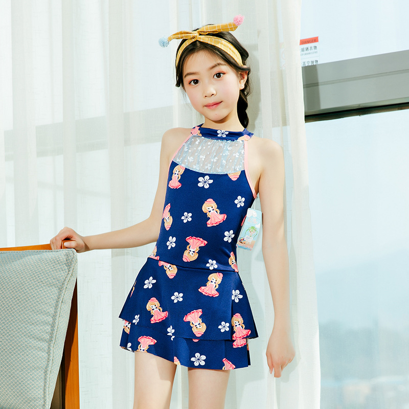 2019 New Style Korean-style KID'S Swimwear Children One-piece Swimming Suit Cute South Korea Swimwear