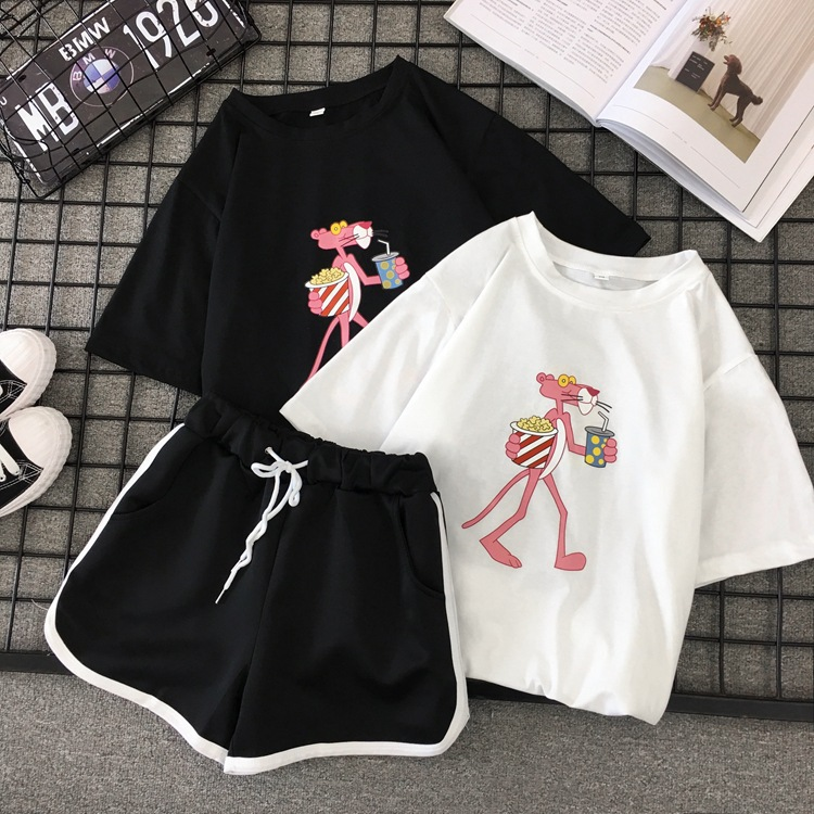 Summer New Style Printed Loose And Plus-sized Women's Two-Piece Set Half Sleeve T-shirt Casual Shorts Set 2019 New Style Boutiqu