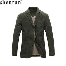 Shenrun Men Casual Blazer Military Jacket 100% Cotton Spring Autumn Suits Jackets Black Khaki Army Green Blazers Single Breasted