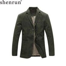 Shenrun veste militaire pour homme, costume printemps automne, vêtement jolie pochette coton, kaki noir, vert armée, à simple boutonnage, collection 100%