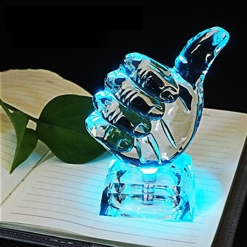 Thumb Night Light Colorful Transform Crystal Illuminated Ornaments Novelty Gift Living Room Bedroom Decoration