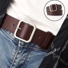 Women Belt PU Leather Wide Leather Waist Strap Belt Alloy Square Buckle Waistband Solid Color Female Jeans Dress Sweater Belts