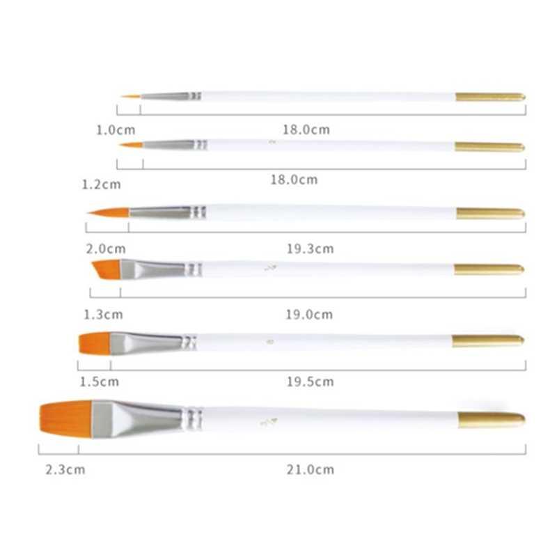 6PCs מקצועי צבע בצבעי מים מברשות בסדר יד-צבוע וו קו עט קצה עגול ציור ציור מברשת עט אמנות ספקי