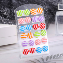 12 Pairs/set Cute Multicolor Stripe Stud Earrings Set For Women Girls Jewelry Fashion Round Acrylic Small Earring Brincos Gift 5pcs set gold silver color crystal stud earring set for women simple cute small earrings 2020 new fashion koeran brincos jewelry