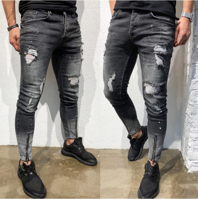 Europe And America New Style Fashion With Holes Young MAN'S Jacket Foot Mouth Zipper Elasticity Skinny Jeans AliExpress Hot Sell