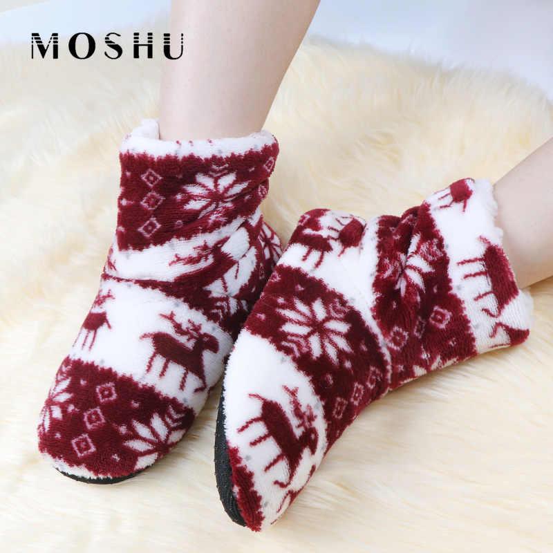 Kadın Kış ev terliği Kürk Slaytlar Düz pamuklu ayakkabılar Peluş Noel Elk Baskı Ev Bayan Terlik Claquette Fourrure