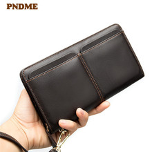 PNDME vintage multi-card genuine leather men's wallet natural cowhide luxury long zipper business card holder card clutch purse