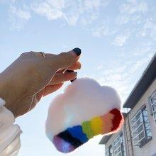 Брелок с подвеской в виде меха радуги облака супер красивый
