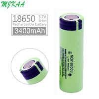 2020 mjkaa 100% original novo ncr 18650 3.7 v 3400 mah ncr18650b bateria de lítio recarregável para baterias de lanterna elétrica