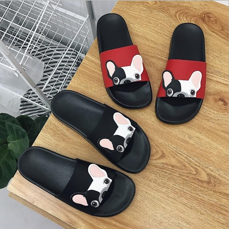 2020 New Women Slippers Casual Flip Flops Student Cute French Bulldog Print Slides Non-slip Outdoor Wear Slippers Shoes Woman