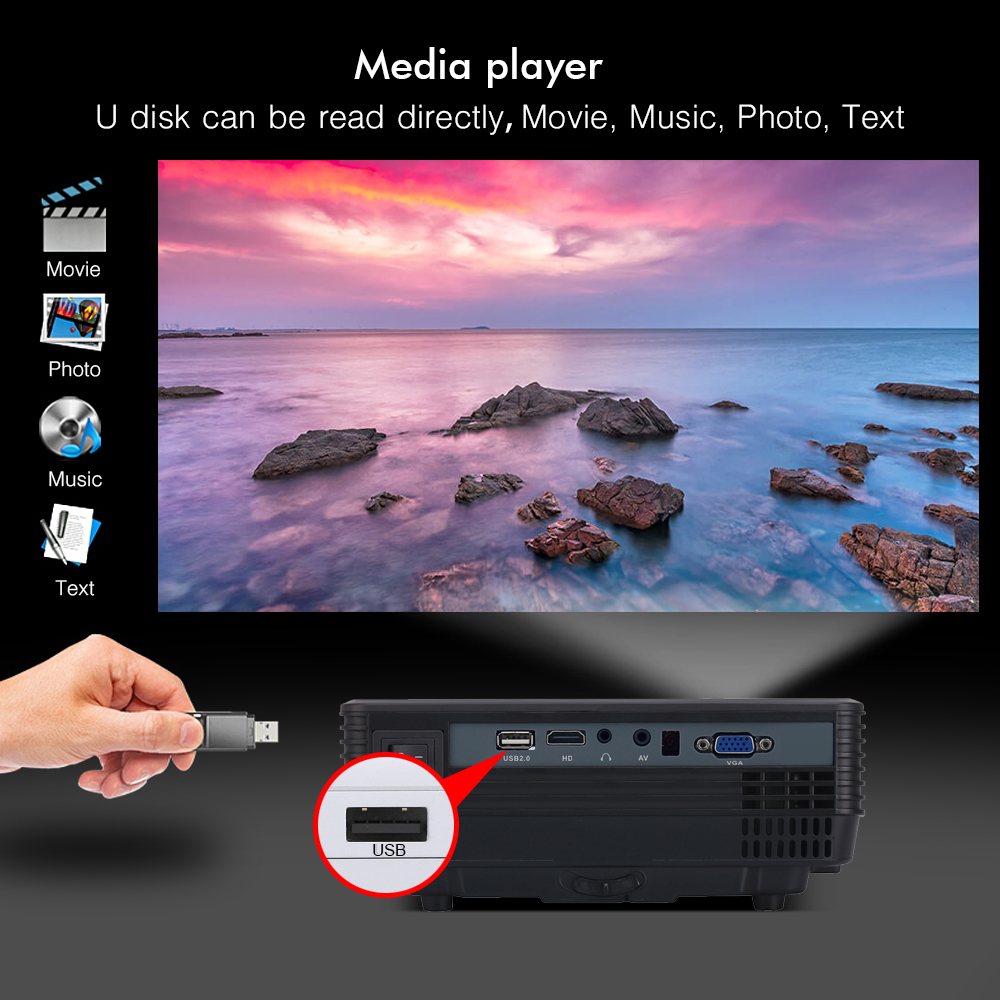 BYINTEK SKY BT905 Home Theater Mini LED Portable Video HD LCD Projector Beamer Proyector with HD USB Support 1080P