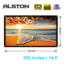 ALSTON 100 Inch 16:9 Portable Projector Screen White Cloth Material LED Projector Home Theater(China)