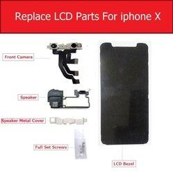 Pełny zestaw wymienić LCD części do iPhone X wyświetlacz LCD metalowa ramka/kamera przednia/głośnik/głośnik metalowe etui /części do naprawy śrub