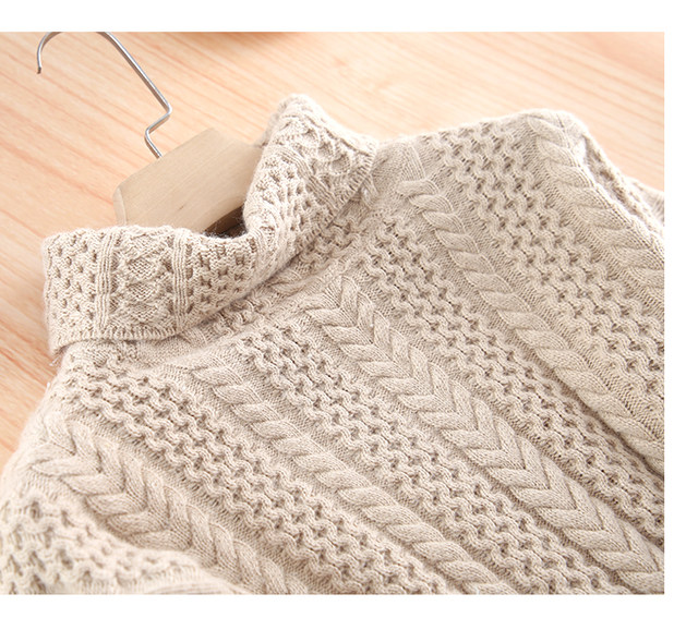 Smpevrg lady thick knitted sweater female pullover long sleeve turtleneck warm women sweater knit tops pullovers women jumpers 14