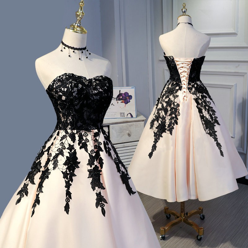 Vintage Tea Length Short Wedding Dresses Champagne Satin Black Lace Colorful Short Bridal Gowns Corset Back A-line Calf Length