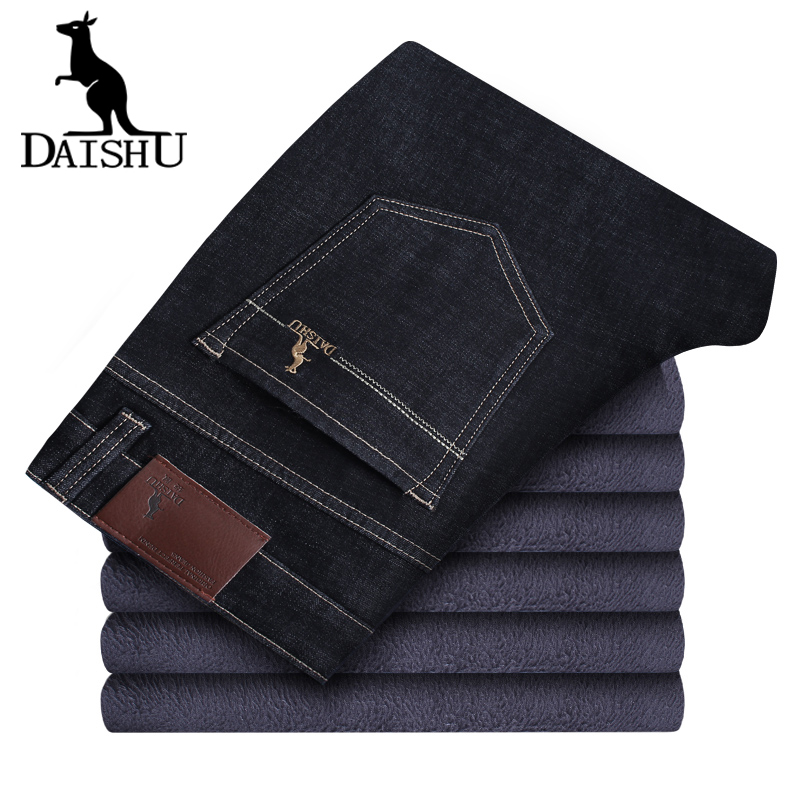 DAISHU 2019 Men Classic Winter New Men's Jeans Quick Dry Casual Stretch Slim Denim Pants Black Fleece Warm Male Trousers Hombre