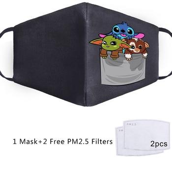 Baby Yoda Mandalorian Cosplay Star Wars Maska Face Mask Adult Kid Washable Masks Masque Reusable PM2.5 Filters Dust Proof Masker 1