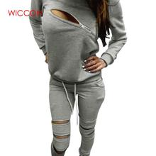 Hoodies Sweatpants Women's Sets Casual 2 Pieces Women's Clothing 2020 Spring Tracksuits Sportswear Female Pullovers Zipper Hole