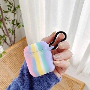 Image 2 - Colorido arco íris caso para airpods caso para airpods pro moda flor cordão chaveiro silicone fone de ouvido capa para airpods 2