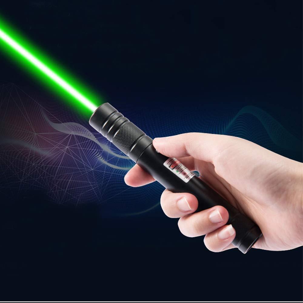 Puntero láser verde al aire libre pluma de alta potencia 5mW 532nm USB de carga portátil puntero láser foco con luz láser caza senderismo campamento 40m detector láser de alcance preciso, buscador de rango de mano, telémetro láser edificio, diastímetro Digital, cinta de medición