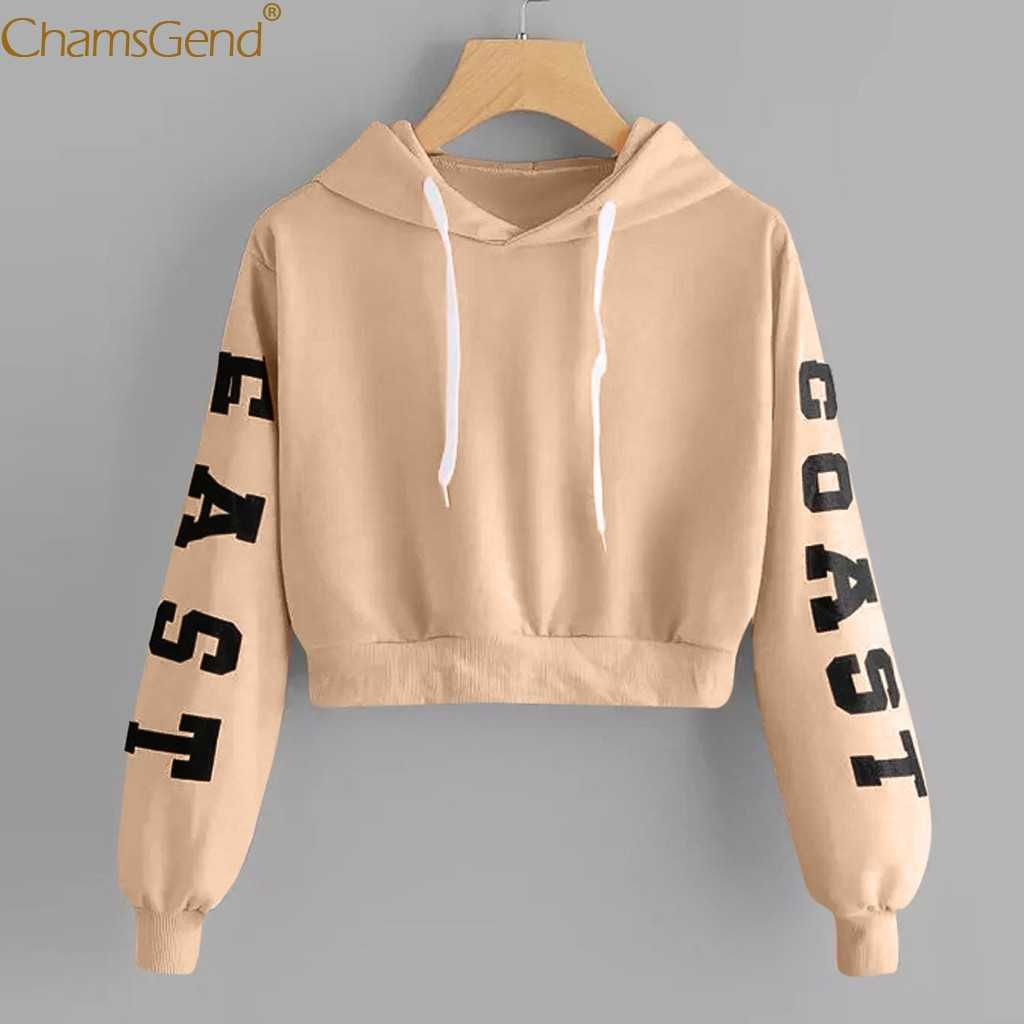 Teenager Mädchen Lange Hülse Hoodie Sweatshirt Crop Top Brief Druck Bluse Shirts Rot Khaki Gelb Frau Cropped Sweatshirts 908