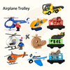 Wooden Railway Train Track Diecast Helicopter Car Truck Wood Magnetic Train Accessories For Thomas track Wood Biro Tracks Gifts