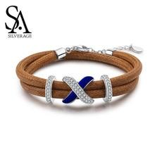 цена SA SILVERAGE 925 Sterling Bracelet Bangle for Woman S925 Silver Zirconia Strand Bracelets Fine Jewelry 17.8cm+3cm Extender 2019 онлайн в 2017 году