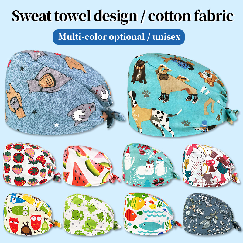 New Unisex Medical Surgical Doctor Caps Cartoon Print Cotton Caps Pet Hospital Doctor Hats Operating Room Cap Nurse Accessories