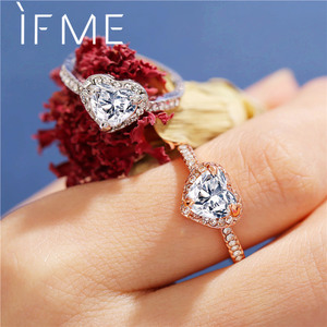 IF ME Trendy Classic Gold Sliver Color Crystal Rings for Woman Charm Lovely Heart Ring Lady Wedding Anniversary Jewelry Dropship