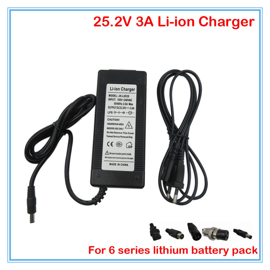 High quality Output 25.2V 3A Li ion Li Po Battery charger Used for 24V 6S lithium battery pack free shipping|battery charger|li-po battery charger|batteries battery charger - title=