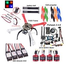 F450 450mm Quadcopter Rahmen Kit PIXHAWK 2.4.8 Flight control 433Mhz Telemetrie M8N GPS 30A Simonk ESC 2212 920KV motor w/ 5V LED