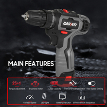 12V Brushless Electric Drill Cordless Drill Driver Handheld Portable Power Drill Two-Speed Rechargeable Drill with LED Light