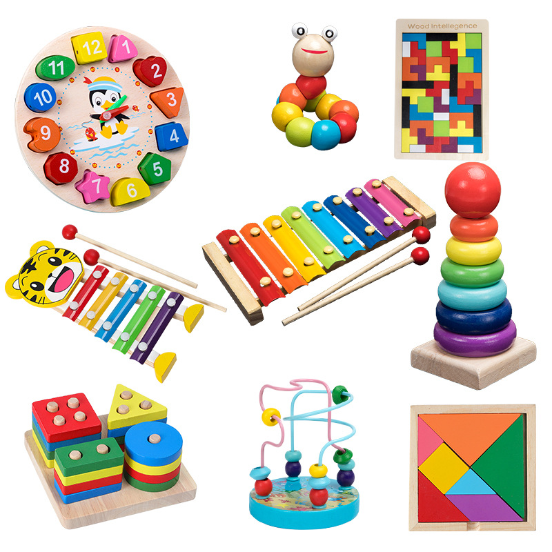 Baby Montessori Toys Colorful Wooden Blocks Baby Music Rattles Graphic Cognition Early Educational QWZ Toys For Baby Gifts