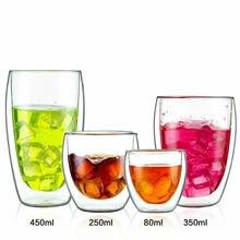 Faroot 150/250/350/450ML Double Wall Glass Borosilicate Cup Clear Coffee Tea Mug Cups