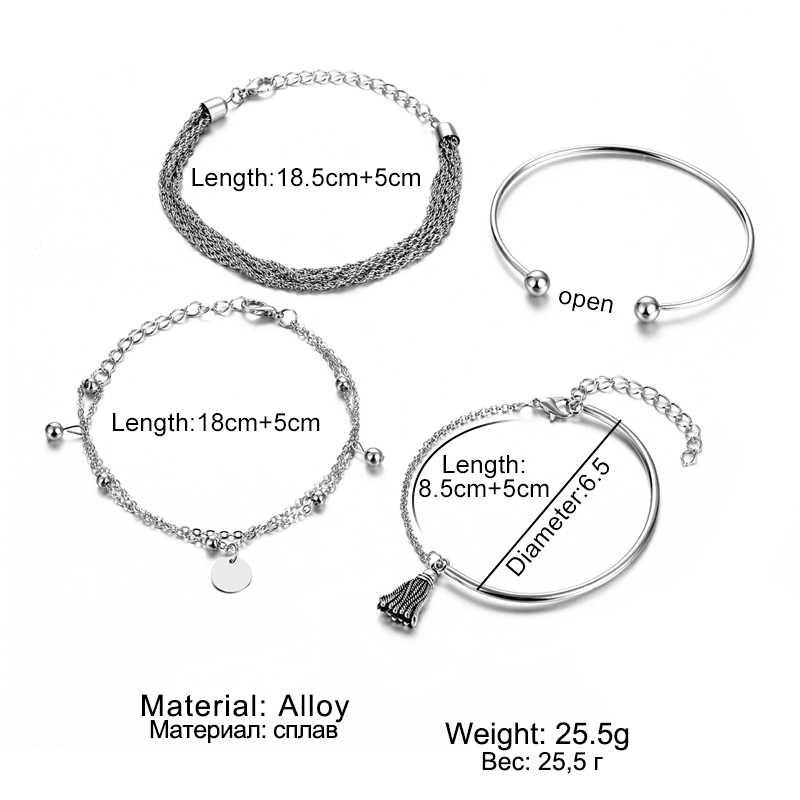 Pulseira boêmia em prata com borla, 4 pçs/set, conjunto de pulseira redonda feminina, multicamada, pingente, bracelete, joias da moda