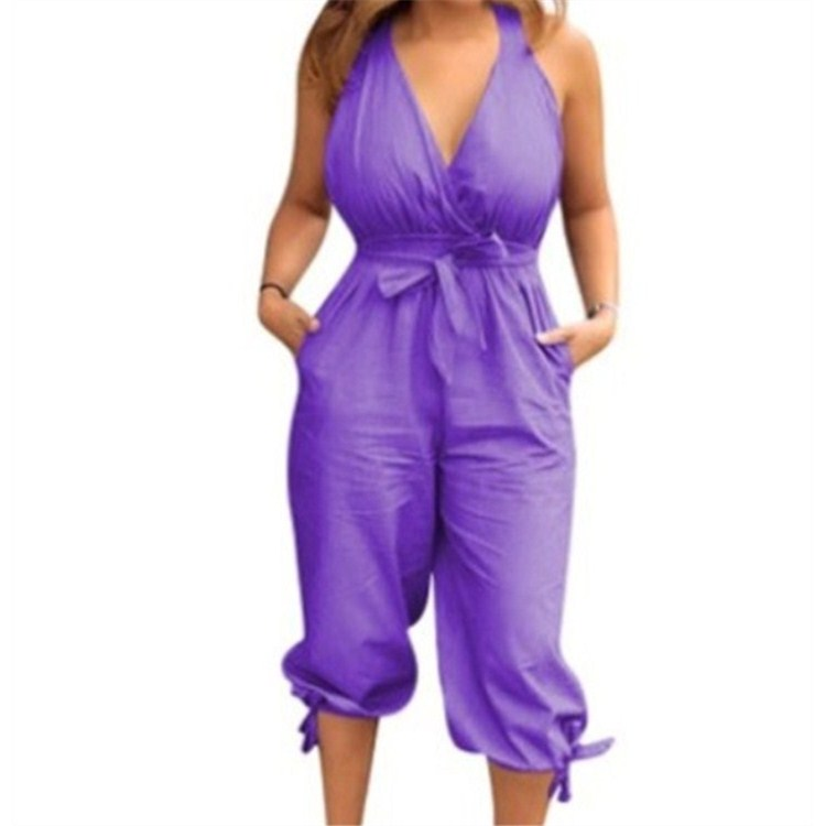 Fashion Sexy Deep V-Neck Sleeveless Summer Jumpsuits Casual Soild Color Short Playsuit Lace Up Loose Jumpsuits