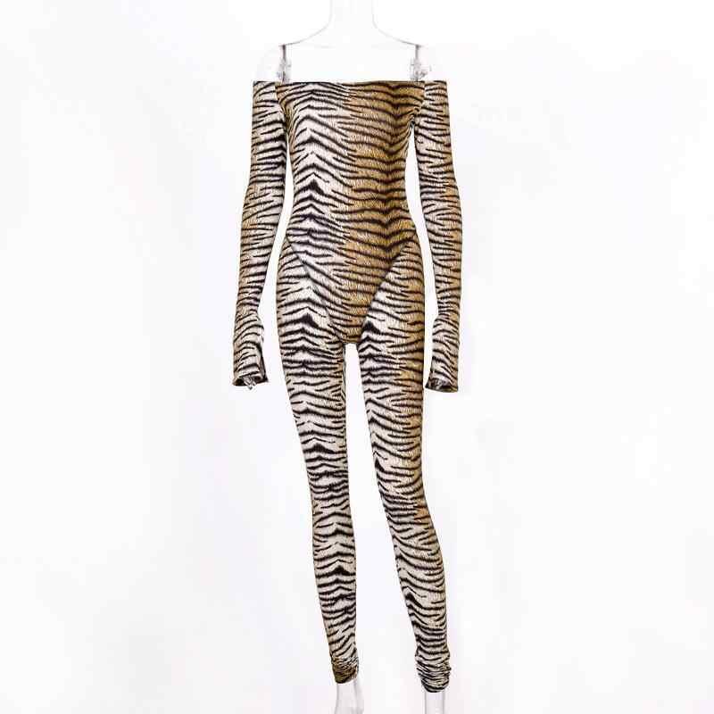 Ainyfu сексуальный леопардовый комбинезон женский 2019 длинный рукав обтягивающий комбинезон женский s комбинезон повседневный комбинезон для вечеринки комбинезон