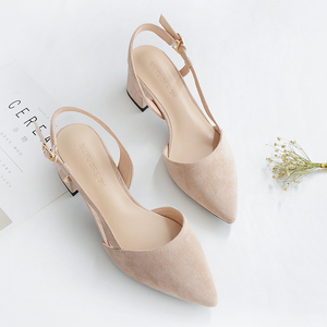Image 4 - 2020 Hot Shoes Woman 4.5CM Square High Heels Slingbacks Faux Suede Point Toe Women Office Lady Solid Sandals Female Wedding Shoe