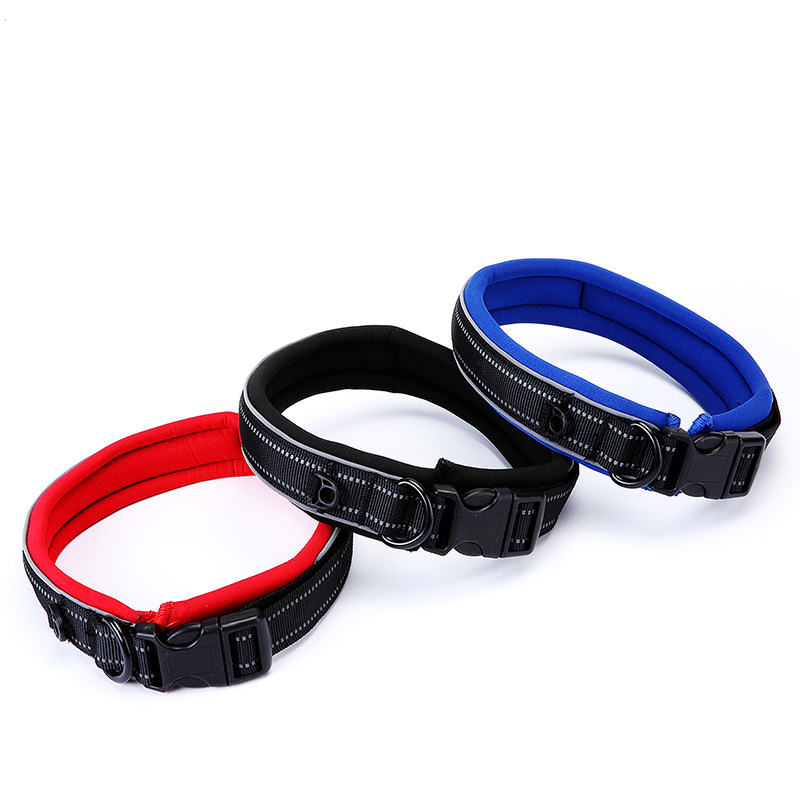 Hot Selling Nylon Pet Dog Collar Double Layer Thick Adjustable Velcro Reflective Cats Neck Ring